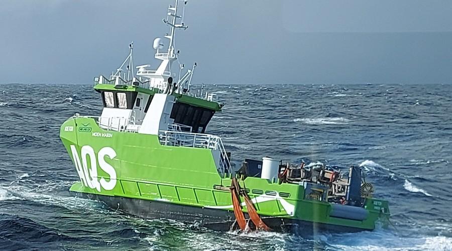 AQS Tor var i drift med ca. to knops fart. Foto: Stadt Sløvåg.