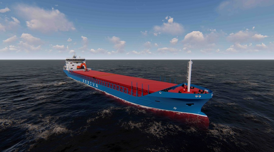 Det nye hybridskipet som bygges for rederiet Arriva er et bulkskip med norsk design fra Marine Design and Consulting, batteridrift og elektrisk gravemaskin. Ill: Marine Design and Consulting