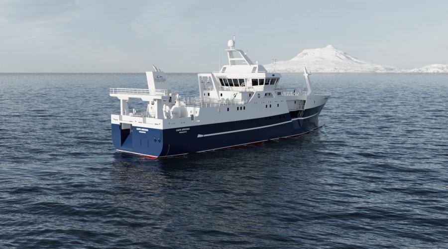 Austral Fisheries har kontrahert nytt moderne fiskefartøy hos Båtbygg AS, med designtype SK-4260 fra Skipskompetanse. Bilde: Skipskompetanse