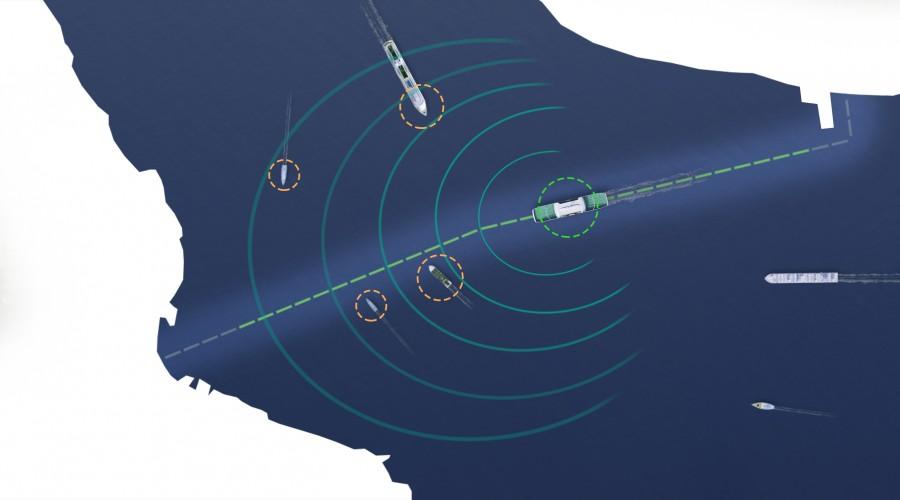 Med Autocrossing-systemet kan ferjene krysse fjorder automatisk. Illustrasjon: Rolls-Royce