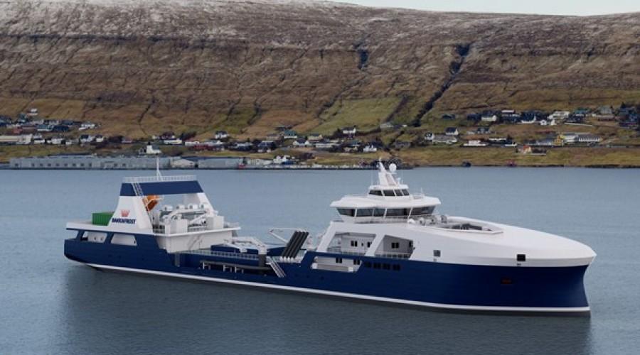Den nye brønnbåten Bakkafrost skal bygge er designet av selskapet Knud E. Hansen i København. Illustrasjon: Bakkafrost