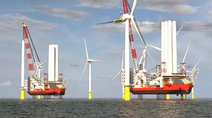 Vindinstallasjonsskip vil bli blant de største av sitt slag og i stand til å frakte og installere flere sett med vindturbiner med tilhørende fundament. Illustrasjon: Kongsberg.