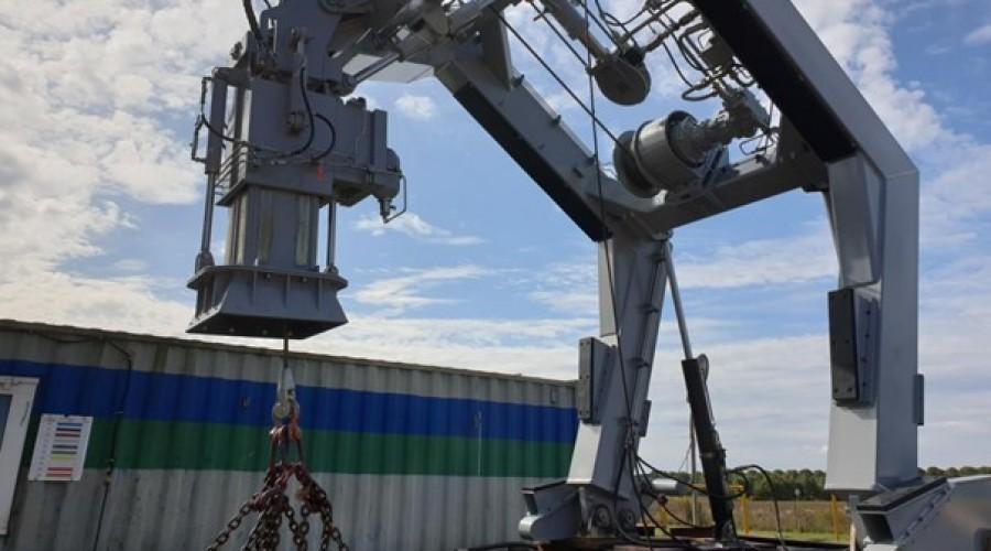 One of Vestdavit's latest generation PLD davits undergoing testing at Vestdavit Production in Poland. Credit: Vestdavit