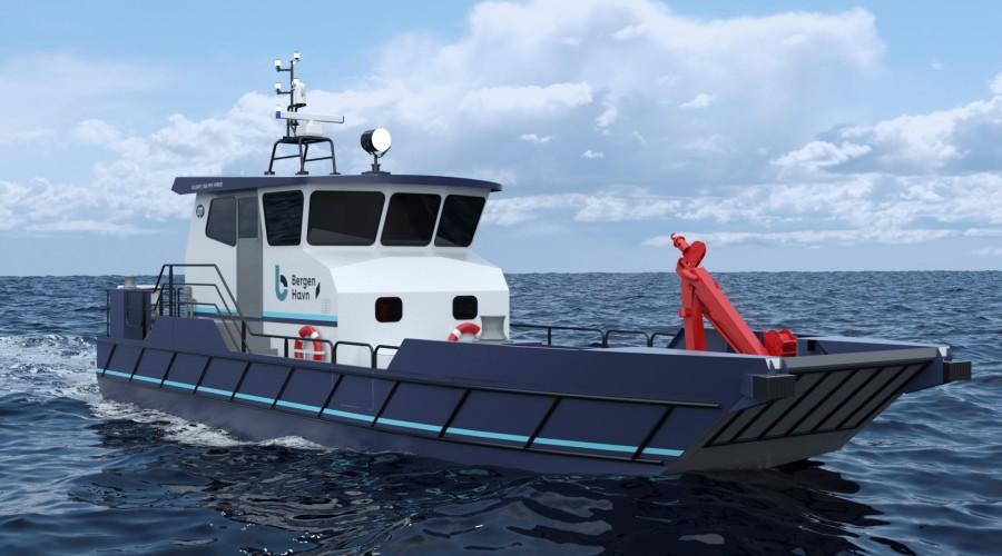 Maritime Partner skal levere en slik arbeidsbåt til Bergen Havn. Illustrasjon: Maritime Partner.