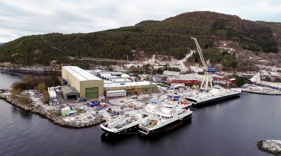 Skipsverftet i Leirvik. Foto: Uavpic
