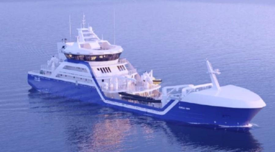 Larsnes Mek. skal bygge enda en brønnbåt, denne gang til et rederi i Chile. Illustrasjon: Skipskompetanse.