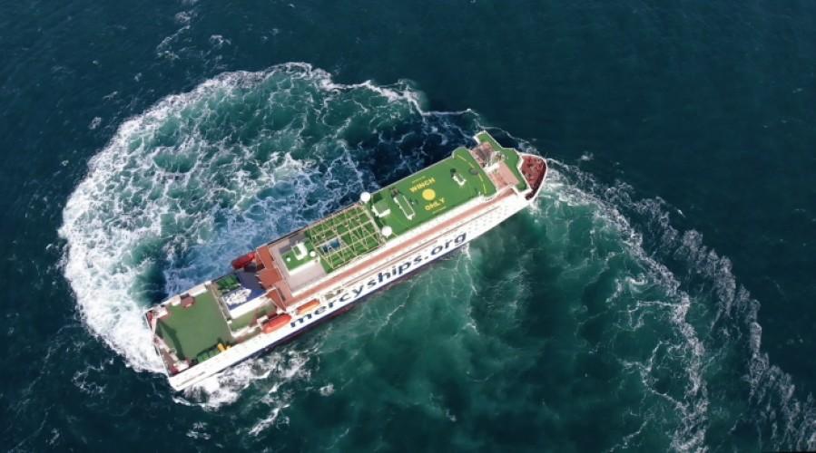 Sykehusskipet Global Mercy har ekstrem manøvrerbarhet som gjør at hun kan komme inn i lite tilgjengelige havner Foto: Tianjin Xingang Shipyard.