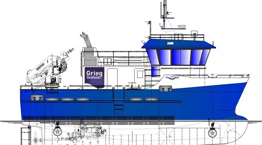 Marin Design skal tegne og Viknaslipen bygge, en ny arbeidsbåt til Grieg Seafood. Illustrasjon: Marin Design