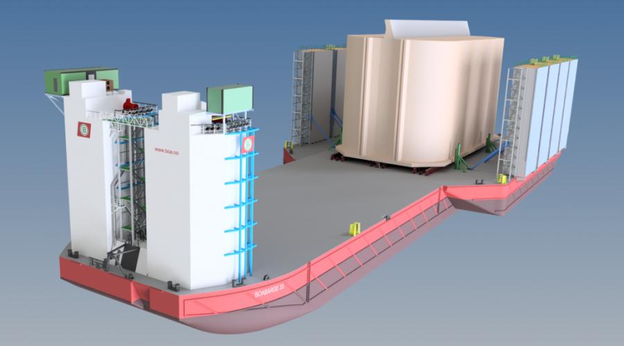 Slik blir den ombygde lekteren BOA Barge 33 med betongelement om bord. Illustrasjon: BOA