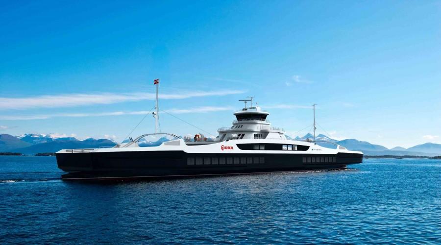 Multi Maritime i Førde står bak de nye Boreal-ferjene, som bygges i Tyrkia. Illustrasjon: Multi Maritime