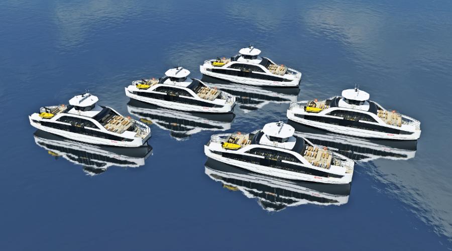 Boreal har bestilt fem elektriske ferjer fra Sefine Shipyard. Illustrasjon: Multi Maritime/Boreal