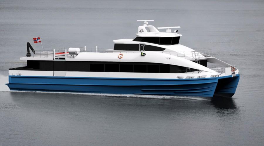 Brødrene Aa skal bygge to slike hurtigbåter til Nordland Fylkeskommune. Illustrasjon: Brødrene Aa