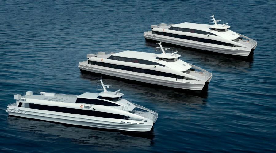 Brødrene Aa skal bygge totalt tre båtar. Alle tre vert på 42 meter. To av dei skal ta 300 passasjerar og yte 40 knop.  Den tredje skal ta 230 passasjerar og gå 37 knop. Foto: Brødrene Aa