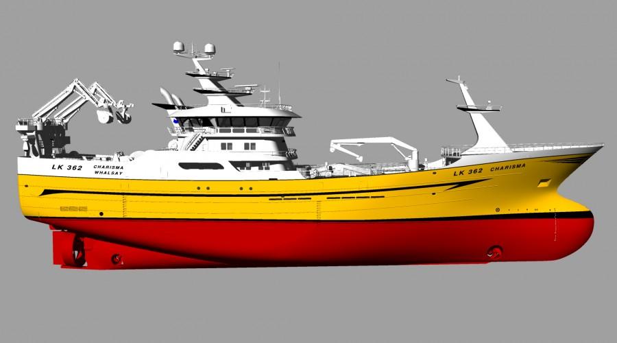 Pelagisk tråler til Charisma Fishing Co.Ltd. som blir utstyrt med Brunvoll framdrift-, thruster- og kontrollsystem. Illustrasjon: Karstensens Skibsværft AS