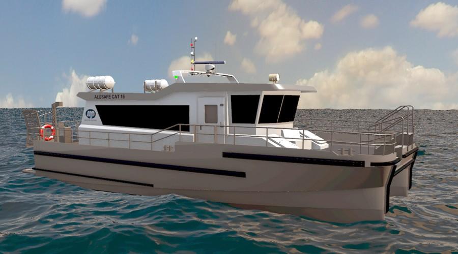 Alusafe Cat 16 har planende katamaran skrog og en maksimal kapasitet på 23 passasjerer. Illustrasjon: Maritimt Partner.
