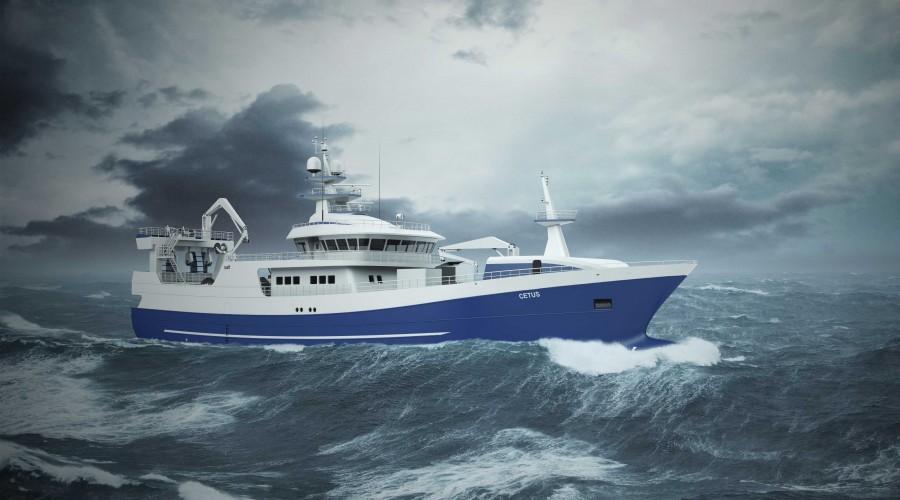 Cetus blir et moderne fiskefartøy med miljøbevisste løsninger. Illustrasjon: Salt Ship Design/Fitjar Mek