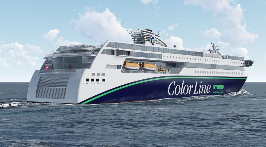 Verdens største hybridferje bygges hos Ulstein Verft, og har Color Hybrid som foreløpig arbeidsnavn. Illustrasjon: Fosen/Ulstein
