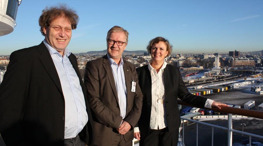 Frederic Hauge fra Bellona, Helge Otto Mathisen fra Color Line og Anne Sigrid Hamran, havnedirektør i Oslo