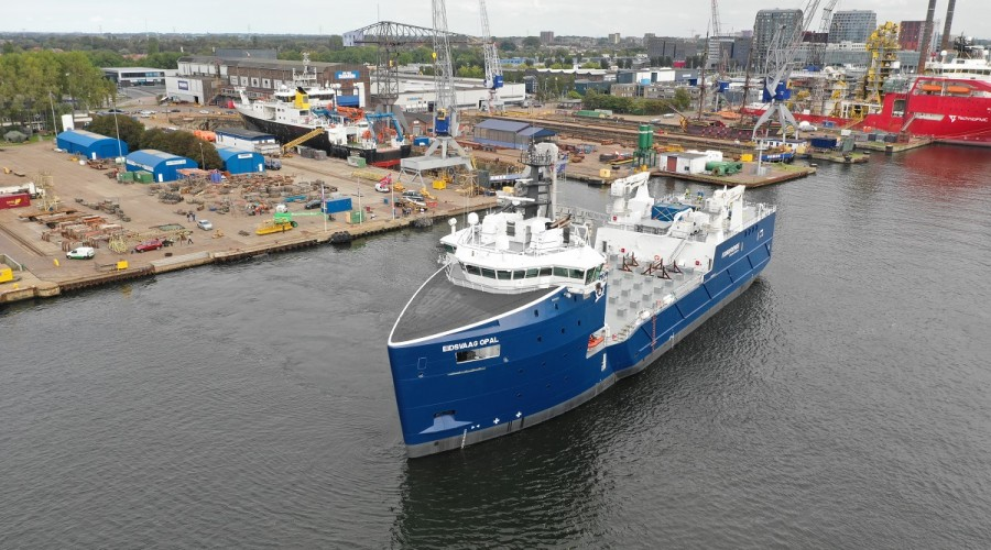 Damen Shipyards Group has recently converted a former platform supply vessel (PSV) into a fish feed carrier, named Eidsvaag Opal. Photo: Damen.