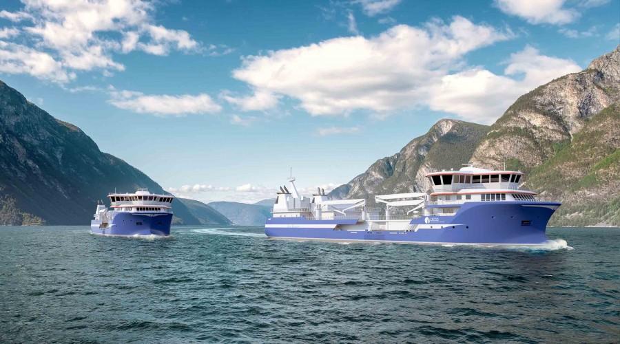 Brønnbåtene får en kapasitet på mer enn 6000 kubikk. Illustrasjon: Salt Ship Design