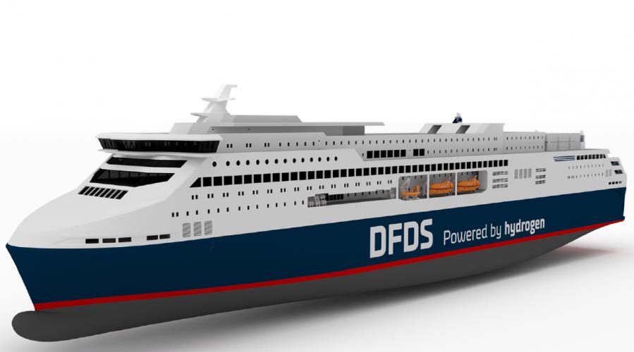 Slik tenker DFDS og designselskapet Knud E. Hansen at den nye Oslo-København ferja skal bli. Illustrasjon DFDS/KNUD E. HANSEN