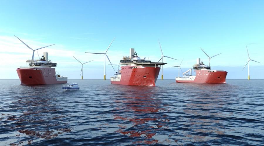 Med servicefartøyene fra North Star Renewables vil markedsledende teknologi bli tatt i bruk i havvindmarkedet og havvindparken Dogger Bank, som blir bygget i Nordsjøen av samarbeidspartnerne SSE Renewables, Equinor og Eni. Illustrasjon: North Star Renewables Animation.