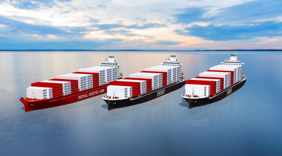 Eimskip og Royal Arctic Line har bestilt henholdsvis to og ett containerskip ved kinesisk verft og skal også utvide samseilingen mellom de to rederiene. Illustrasjon: Eimskip