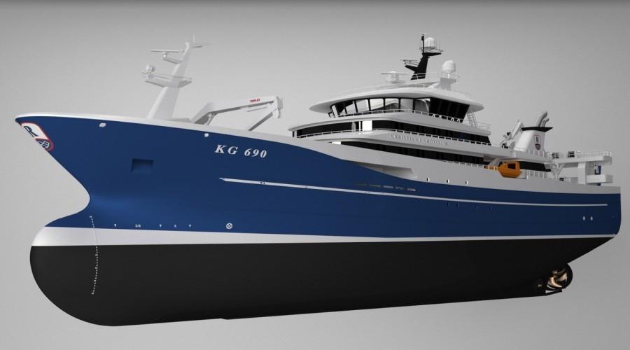 Karstensens Shipyard skal bygge en ny pelagisk snurper/tråler til et færøysk rederi. Illustrasjon: Karstensens.