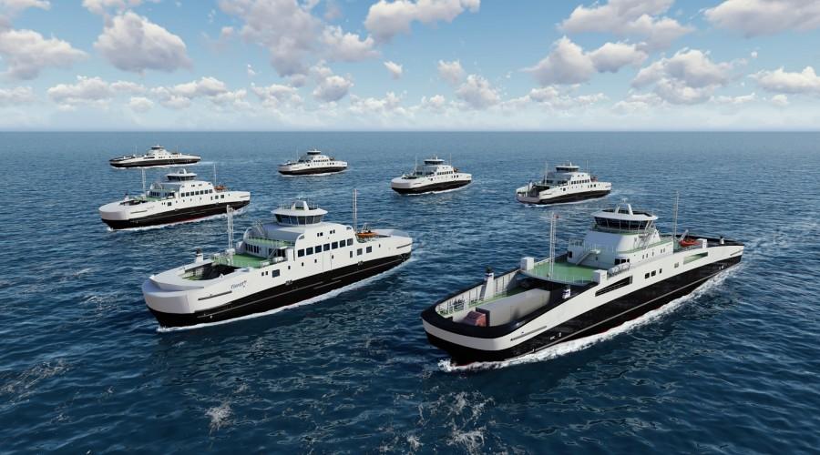 Havyard bygger en hel flåte med nye bateriferjer til Fjord1. Illustrasjon: Havyard/Fjord1