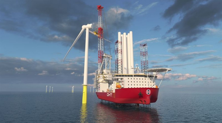 Tahe new OHT wind turbine installation vessel will operate with a broad scope of Wärtsilä solutions delivering high performance DP © OHT ASA
