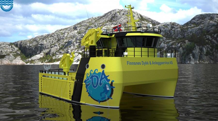 Illustrasjon av FMV234, en arbeidsbåt med stor kapasitet og fleksibilitet. Illustrasjon: Fitjar Mek. Verksted/Heimli Ship Design
