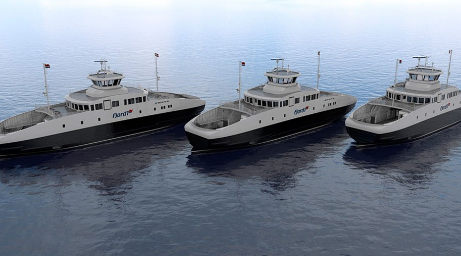Tre ferger skal bygges ved Havyard Ship Technology i Leirvik. Den første fergen skal leveres i midten av mai 2018. Illustrasjon: Multi Maritime.