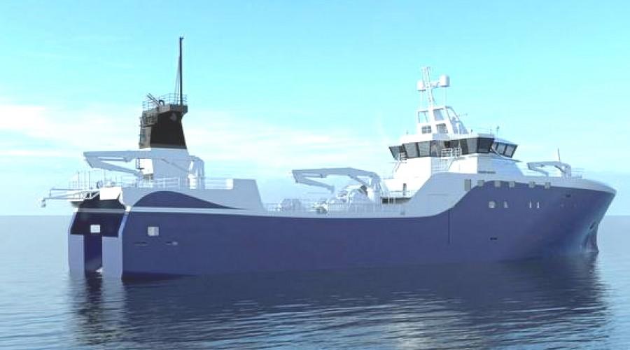 Den nye tråleren til Færøyane bygges av Vard Brattvaag og skal leverews i andre kvartal 2022. Illustrasjon: Hydroniq.