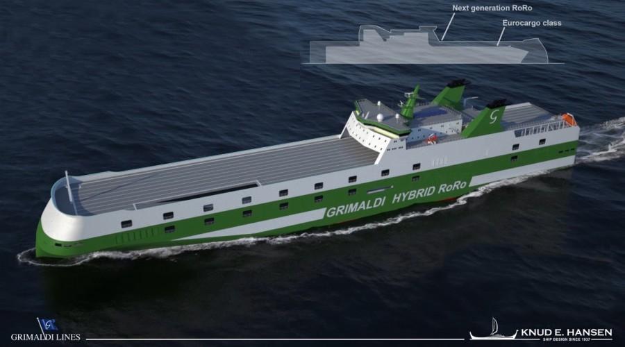Grimaldi Green 5th Generation RoRo får framdriftssystem fra Rolls-Royce. Illustrasjon: Knud E. Hansen