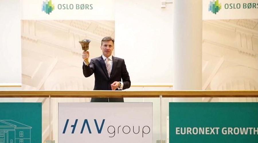 Adm.dir. for Oslo Børs, Øivind Amundsen, åpner for notering av HAV Group. Bilde: Euronext.
