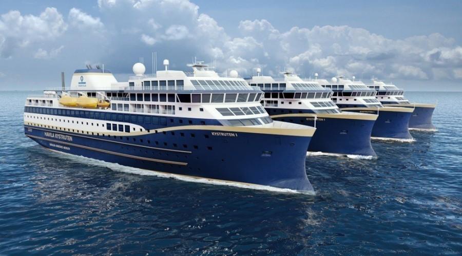 To av Havila Kystrutens fire nye skip skulle etter planen bygges ved Barreras-verftet i Spania. Store vansker hos byggeverftet gjør at et nytt verft kan få tildelt kontrakten. Ill: Havila Kystruten