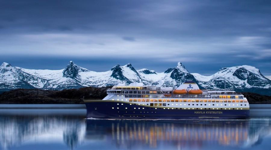 Havila Kystruten skal frå 2021 drifte fire av dei elleve skipa som seglar den klassiske sjøreisa frå Bergen til Kirkenes. Illustrasjon: Havila Kystruten