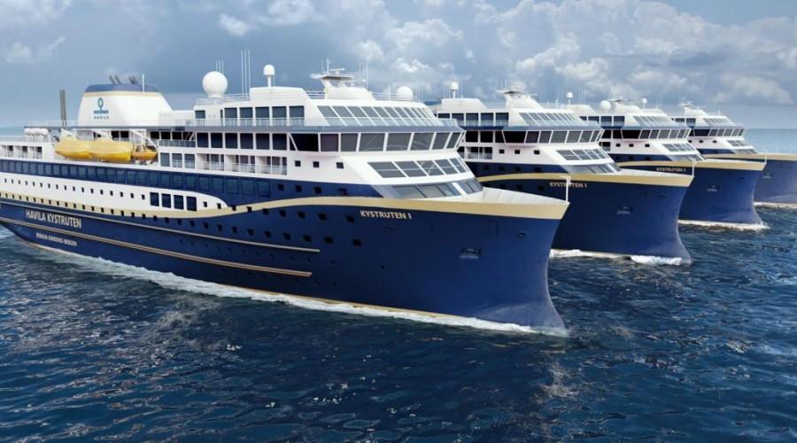 Verftet H.J. Barreras i Vigo i Spania skal bygge to og Havyard i Leirvik i Sogn to av de fire nye skipene til Havila Kystruten. Illustrasjon: Havyard Design