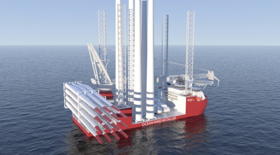 Det nye installasjonsfartøyet skal kunne installere fremtidige gigantvindmøller til havs. Illustrasjon: VARD