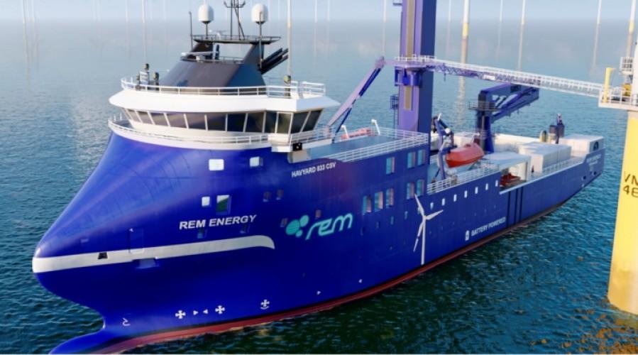 NES skal levere en omfattende pakke til Rem Offshores nye skip for havvind-markedet. Illustrasjon: Havyard Design & Solutions AS