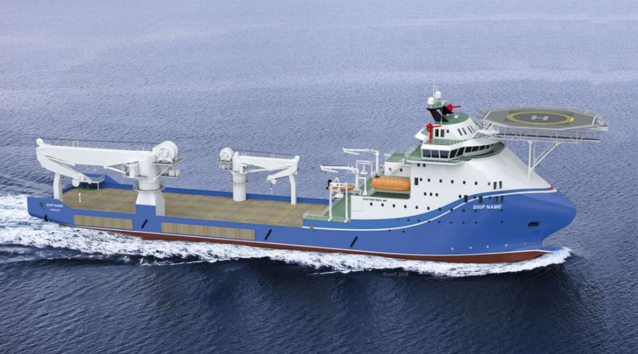 Subseaskipet som skulle bygges ved Havyard Ship Technology har design Havyard 858 L WE.