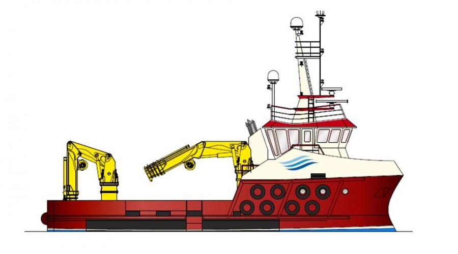 Profil av 23 meters arbeidsbåt