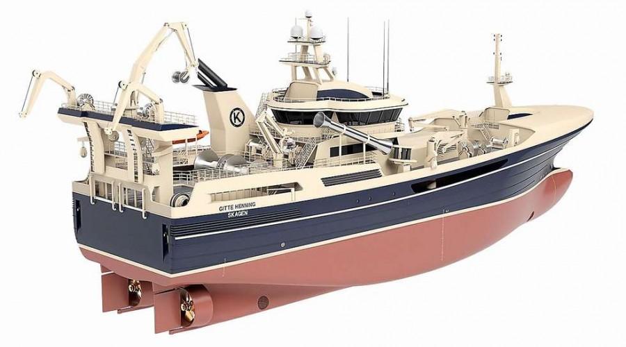 Evotec AS skal levere en stor vinsjpakke til nye Gitte Henning, som bygges hos det spanske verftet Zamakona. Illustrasjon: Salt Ship Design