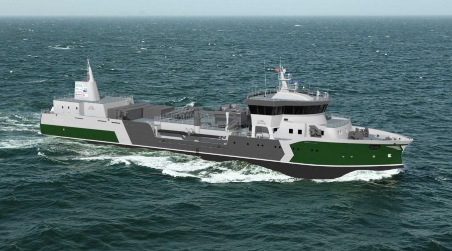 Hordalaks AS får bygd brønnbåten Hordagut hos Fitjar Mekaniske Verft. Skipet får ein klar grønn profil. Illustrasjon: FMV/Heimli