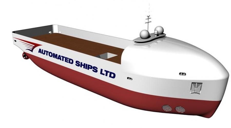 Endringer i utformingen gjør at Hrönn nå blir et fartøy med enkeltskrog som passer bedre til de tiltenkte oppgavene.. Illustrasjon: Automated Ships Ltd/Kongsberg