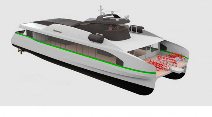 Kontrakten mellom Kolumbus og Fjellstrand vart signert i sommar, og produksjonen av hurtigbåten vil starte opp i mai neste år. Illustrasjon: Fjellstrand.