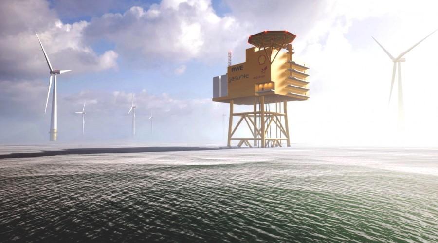 Visjonen er å produsere inntil 10 gigawatt grønt hydrogen til havs innen 2035. Illustrasjon: AquaVentus.