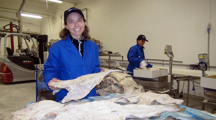 Inger-Marie Sperre, her fotografert hos sjømatbedriften Brødrene Sperre AS som hun er leder for, er ny leder for FHL. Foto: Øyvind A. Haram, FHL.