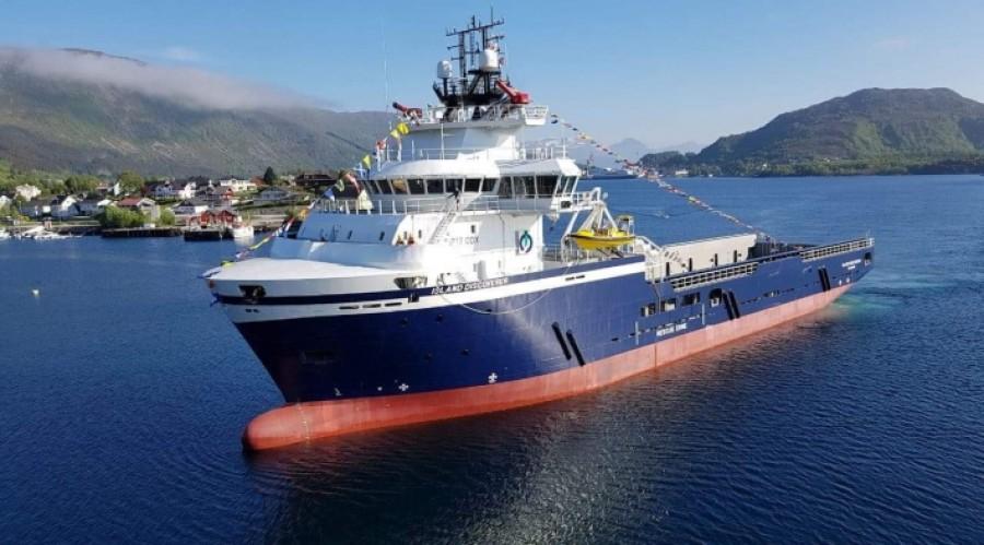 Island Discoverer er av typen UT 717 CDX, designa av Kongsberg Maritime, og er den femte av denne typen i flåten til Island Offshore.  Foto: Anne Lise Osnes