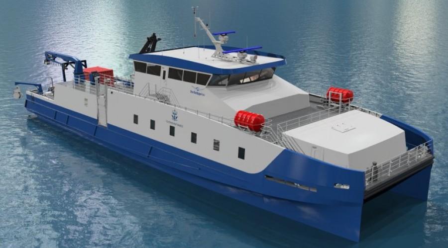 Fiskeridirektoratet får nytt hurtiggående fartøy. Fartøyet skal bygges i Norge av Oma Baatbyggeri og driftes av Norled. Illustrasjon: Oma Baatbyggeri.